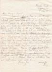 Joe Hewson's letter home