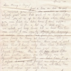 Joe Hewson's letter home