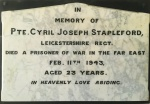 Cyril Stapleford's plaque in Holwell Church