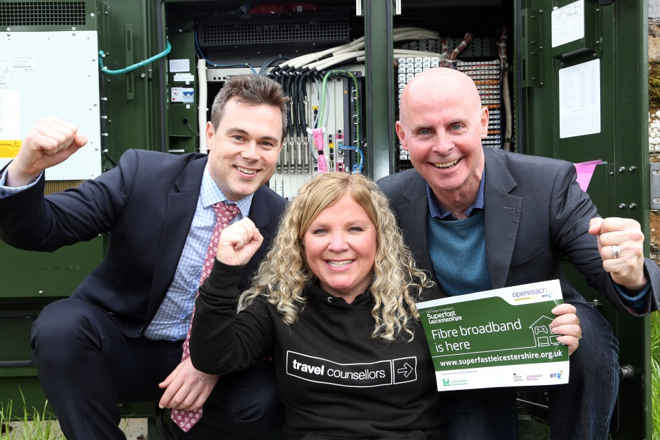 Holwell gets superfast broadband... Villager Sally Willars who runs her business, Travel Counsellors  from home with Cllr Blake Pain and village Digital Champion, Simon Wilkinson-Blake