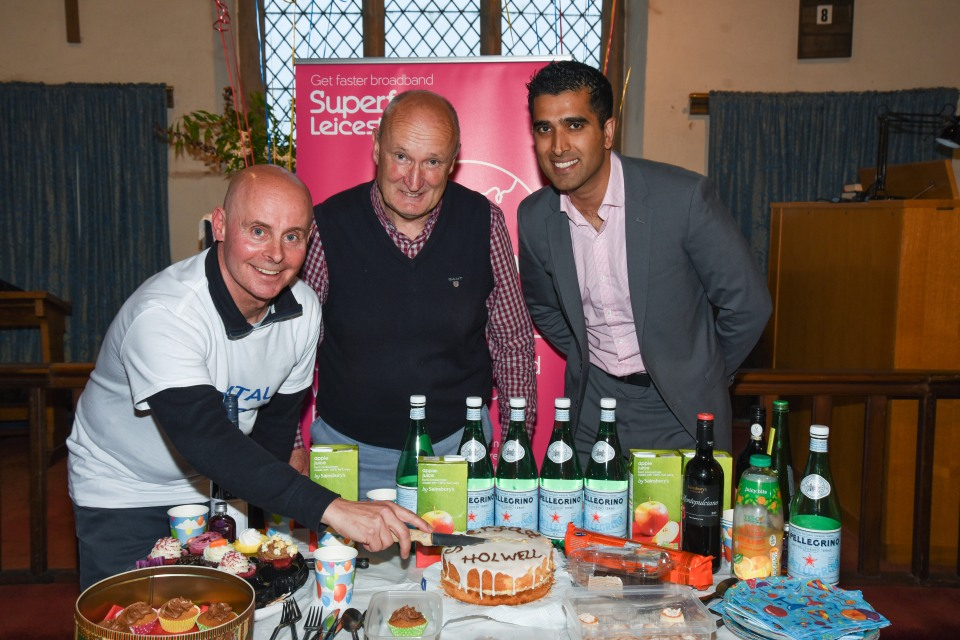 L-R: Holwell Digital Champion Simon Wilkinson-Blake, Cllr Joe Orson Leicestershire County Council, Kasam Hussain BT Project Manager Superfast Leicestershire Pic: Jon Holmes www.jonholmesphotography.com