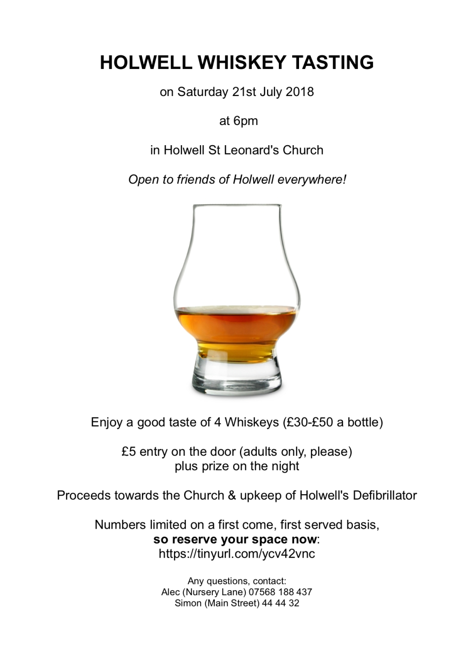 Holwell Whiskey Tasting 2018 flyer